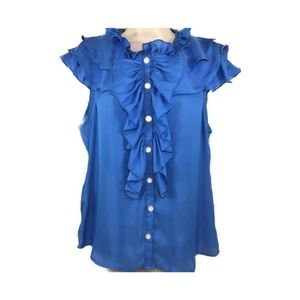 Ark & Co BLue Ruffle Short Sleeve Button Front Top